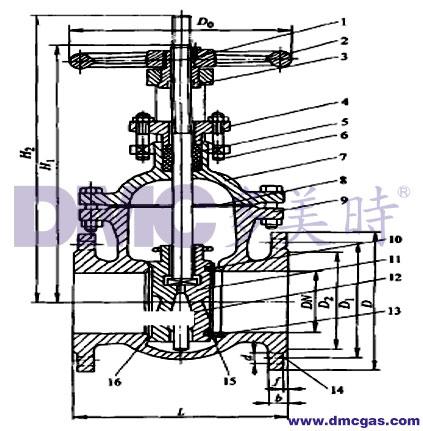 图5-4-6 低压升降杆平行式双闸板闸阀;1-阀杆;2-手轮;3-阀杆螺栓;4图片